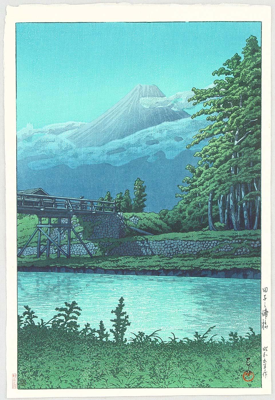 Kawase Hasui Mt Fuji From Tagonoura Bridge At Night
