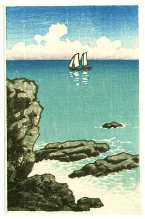 川瀬巴水: Sail Boat and Shore (small size) - Artelino