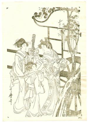 喜多川歌麿: Lady from Ox Cart Key-block Prints - Artelino