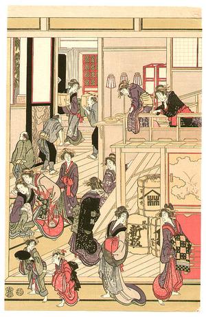 Katsushika Hokusai: New Year's Day at Ohgiya (oban 5 sheets) - Artelino