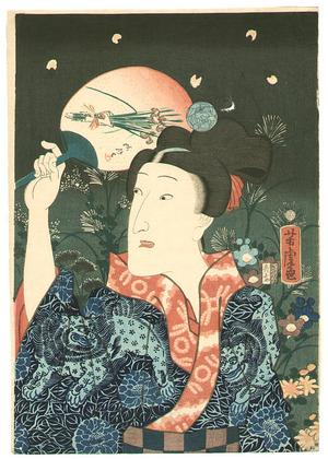 Utagawa Yoshitora: Lion, Peony and Firefly - Artelino