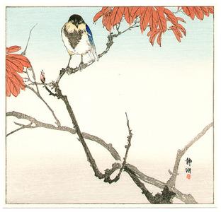 静湖: Blue Bird and Red Leaves - Artelino