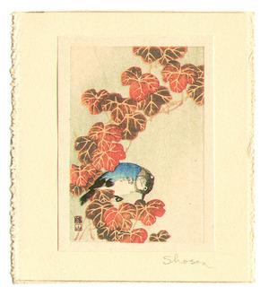 Ito Sozan: Blue Bird and Autumn Leaves (miniature print) - Artelino
