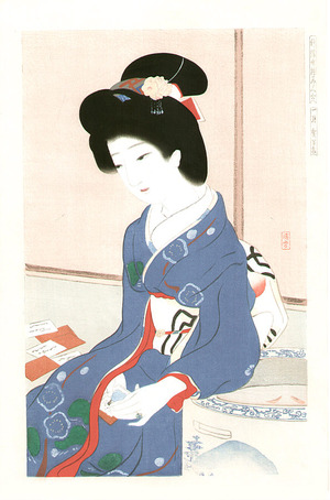 Gyokudo Terukata: January - Collection of New Ukiyoe Style Beauties - Artelino