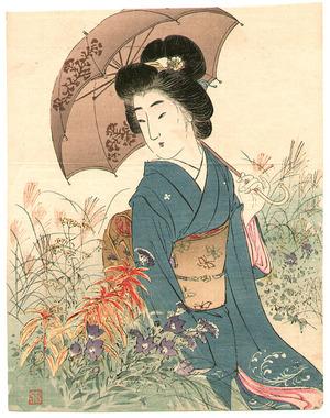 Suzuki Kason: Bijin in Autumn Garden (Kuchi-e) - Artelino
