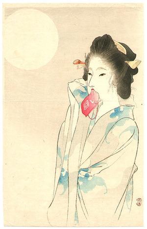 富岡英泉: Beauty and the Moon (Kuchi-e) - Artelino