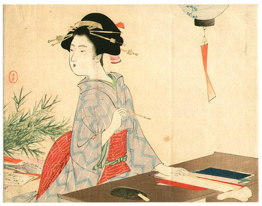 Mizuno Toshikata: Writer (Kuchi-e) - Artelino