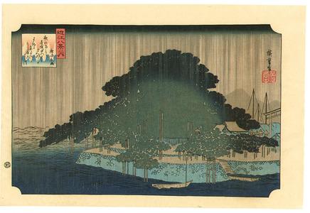 歌川広重: Night Rain on Karasaki - Ohmi Hakkei - Artelino