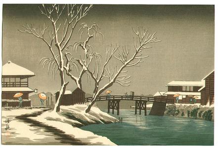 小林清親: Snowy Bridge - Artelino