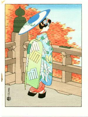 Hasegawa Sadanobu III: Bijin and Red Maple - Artelino