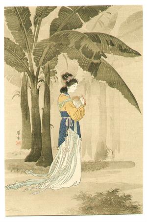 月岡耕漁: Chinese Lady under Banana Trees - Artelino