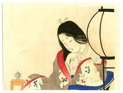 富岡英泉: Lady and Lantern - Artelino