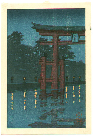 川瀬巴水: Miyajima at Night - Artelino