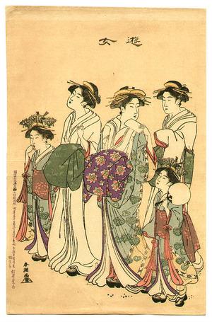 勝川春潮: Courtesans and Kamuro - Artelino