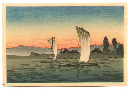 Takahashi Hiroaki: Sail Boats in the Sun Set - Artelino