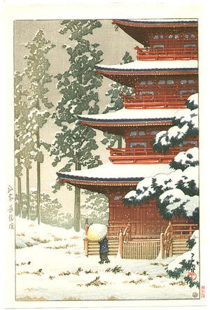 川瀬巴水: Saishoin Temple in the Snow - Artelino