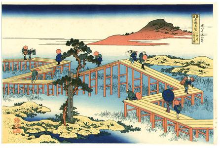 Katsushika Hokusai: Yatsuhashi Bridge - Artelino