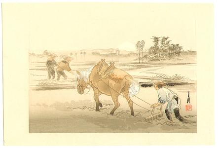 Ogata Gekko: Farmers and Mt.Fuji - One Hundred Fuji - Artelino