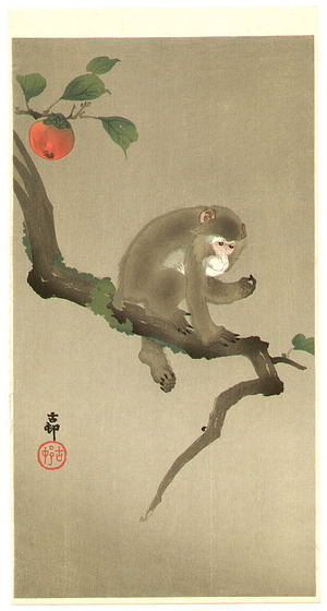 Ohara Koson: Monkey and Persimmon - Artelino
