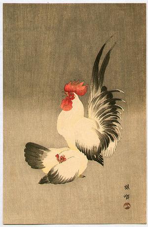 幸野楳嶺: Rooster and Hen - Artelino