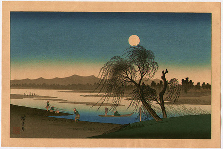 Utagawa Hiroshige: Autumn Moon at Tama River - Edo Kinko Hakkei - Artelino
