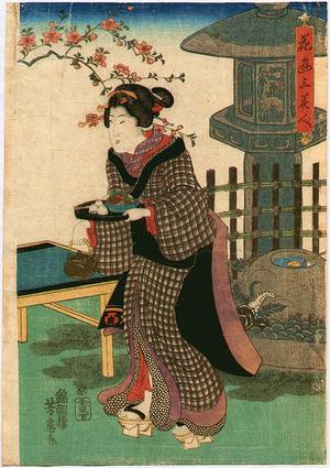 Utagawa Yoshifusa: Beauty in Tea House - Artelino