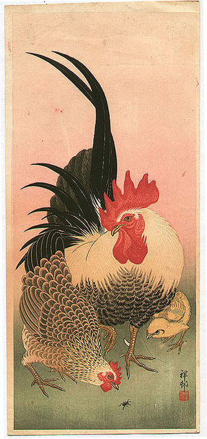 Ohara Koson: Bantam Chickens - Artelino