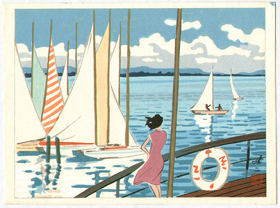 日下賢二: Sail Boats in Biwa Lake - Artelino