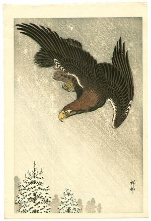 小原古邨: Eagle in Flight against a Snowy Sky - Artelino