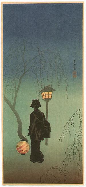Takahashi Hiroaki: Geisha by Lantern - Spring Evening - Artelino