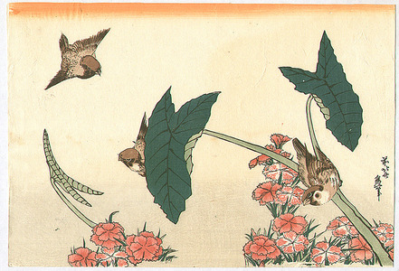 Katsushika Hokusai: Three Sparrows - Artelino