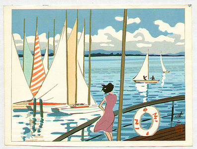 Kusaka Kenji: Sail Boats in Biwa Lake - Artelino