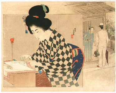 Mizuno Toshikata: Embroider and Visitor - Artelino