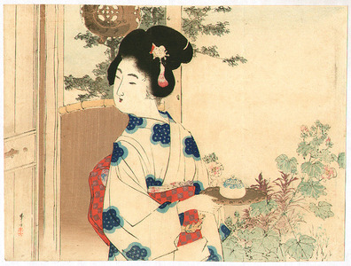 Mizuno Toshikata: Serving Tea - Artelino