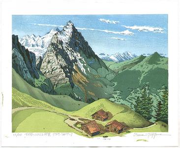 両角修: View of Mt.Eiger from a Pass - Switzerland - Artelino