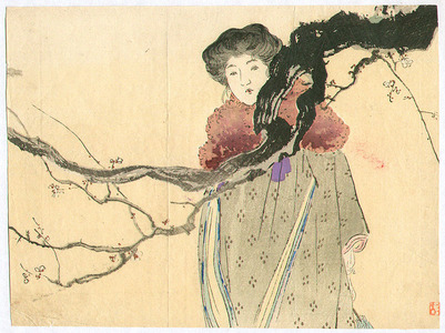 梶田半古: Beauty and Plum Tree - Artelino