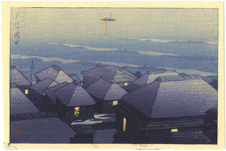 川瀬巴水: Okada in the Evening - Artelino