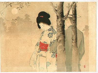 Mizuno Toshikata: Couple in the Morning Mist - 2 - Artelino