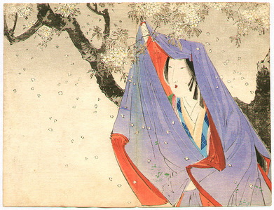 Takeuchi Keishu: Bijin in big blue Hood under Cherry Blossoms - Artelino
