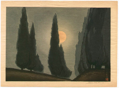 Urushibara Mokuchu: Trees in Moonlight - Artelino