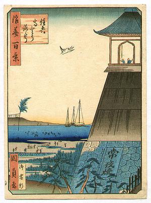 Utagawa Kunisada III: Light Tower at Sumiyoshi - Naniwa Hyakkei - Artelino