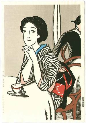 竹久夢二: Woman at Cafe - Artelino