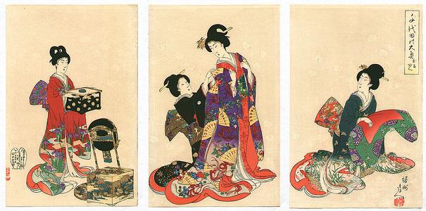豊原周延: Dressing Up - Ladies at Chiyoda Palace - Artelino