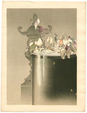Watanabe Seitei: Pigeons and Stone Lantern - Artelino
