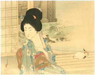 水野年方: Bijin and Cat on Balcony - Artelino