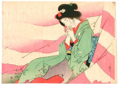 鏑木清方: Beauty in pink and white curtain - Artelino