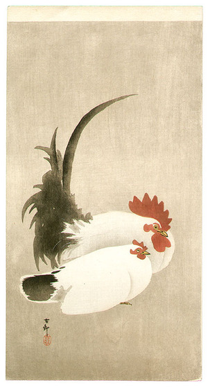 Ohara Koson: Rooster and Hen - Artelino