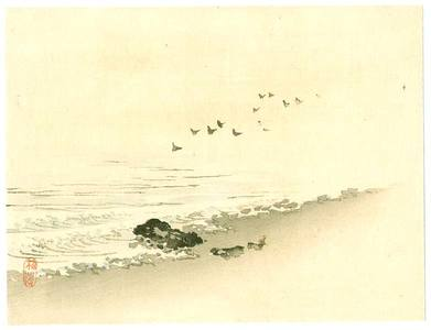 幸野楳嶺: Birds and Beach - Artelino