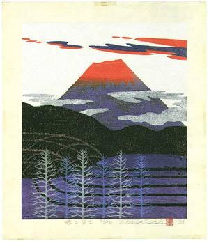 Ono Tadashige: Mt. Fuji in Red Glow - Artelino