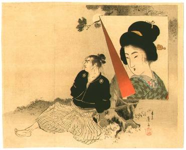 富岡英泉: Samurai on a Moon Night - Artelino